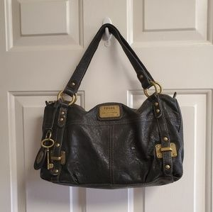 Fossil  vintage leather hand  bag black